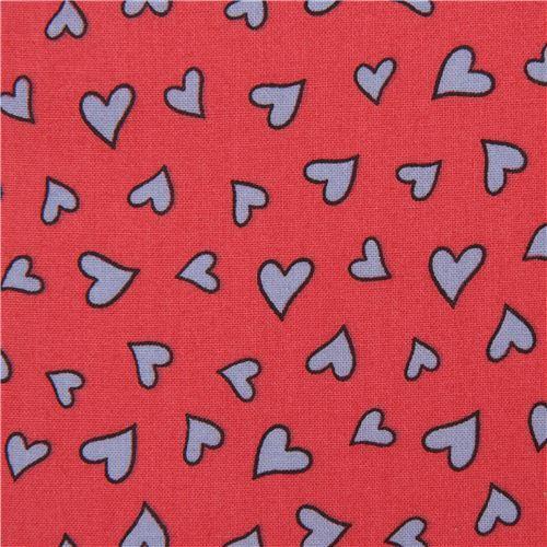 dark pink 'Knuffle Bunny' heart Cloud 9 organic cotton fabric