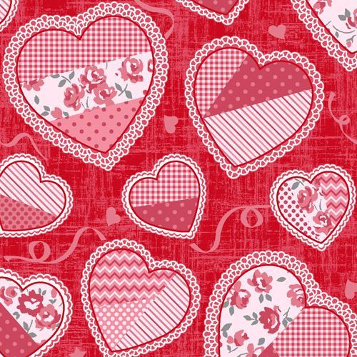 red pink white heart dot stripe pattern fabric by StudioE 'Hugs & Kisses'