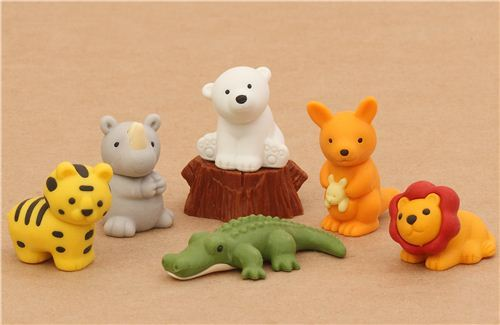 Safari Animals Iwako erasers set 7 pieces from Japan