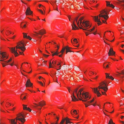 beautiful red rose flowers digital print fabric by Elizabeth's Studio