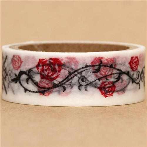 white Washi Masking Tape deco tape rose & vampire