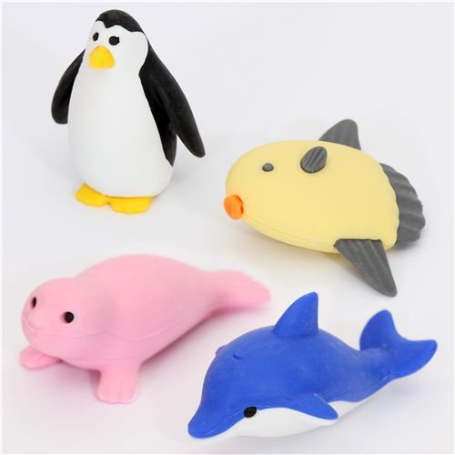 Iwako erasers marine animals blue box 4 pieces set