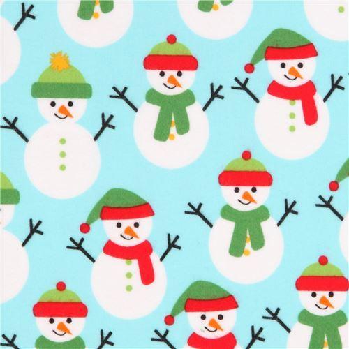 light blue flannel Robert Kaufman fabric cute snowman hat scarf Jingle Flannel