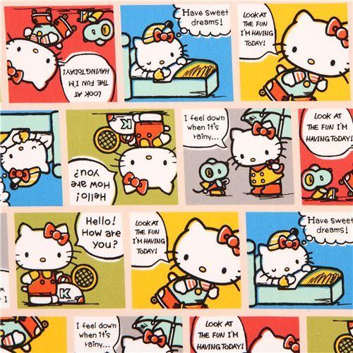 beige Hello Kitty cute colorful comic manga story oxford fabric