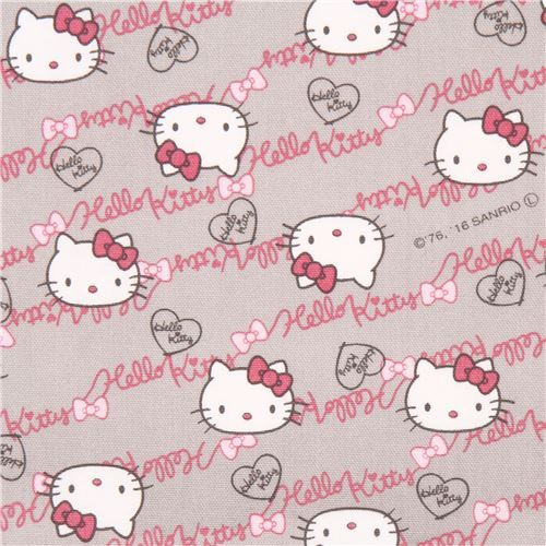 light grey Hello Kitty face text oxford fabric