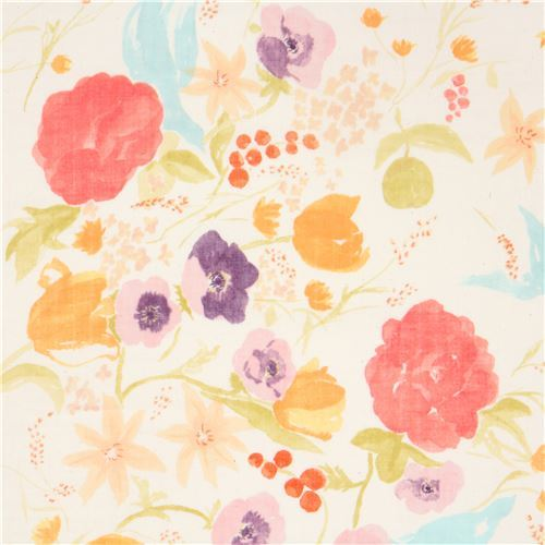 cream Kokka double gauze colorful flower nani iro fabric