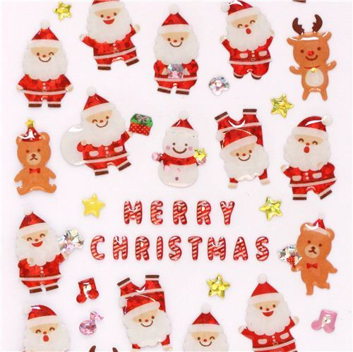cute Santa Claus teddy bear reindeer Christmas glitter stickers from Japan
