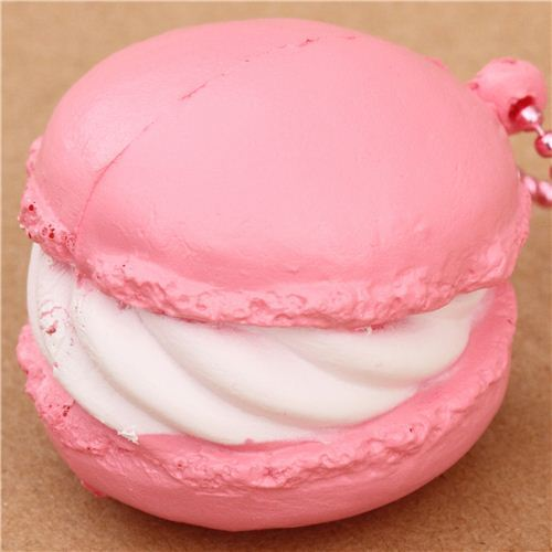 cute small pale pink macaron squishy cellphone charm