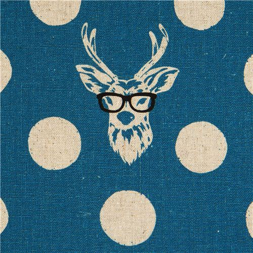 echino canvas fabric Buck stag with glasses blue