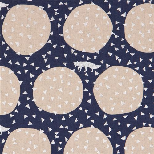 echino dark blue canvas laminate fabric silver triangle dot fox from Japan