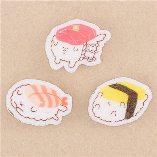 cute animal as sushi eraser 3pcs from Japan