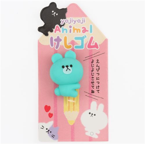 cute green bear pencil end eraser from Japan