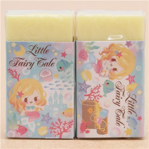 cute yellow mermaid fairy tale scented eraser from Japan