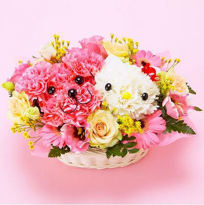 Isn't it adorable?  A charming Hello Kitty abd toy poodle bouquet.