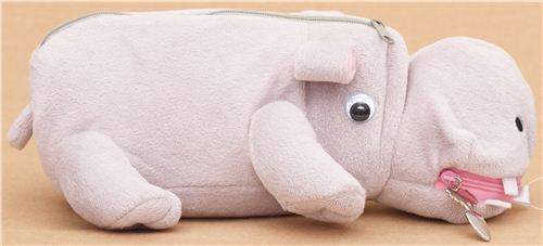 funny hippo plush pencil case from Japan