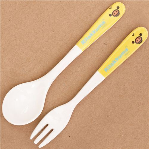 Rilakkuma yellow chick melamine cutlery set fork and spoon