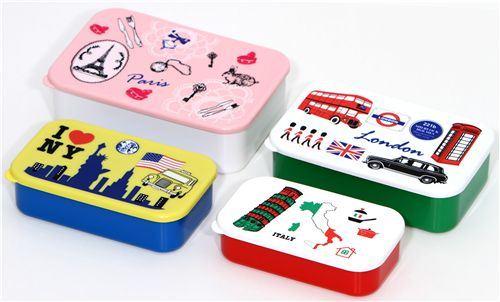 Paris London NY Italy Bento Box 4 pcs Lunch Box