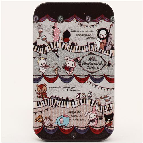 white Sentimental Circus tin case pill box circus animals