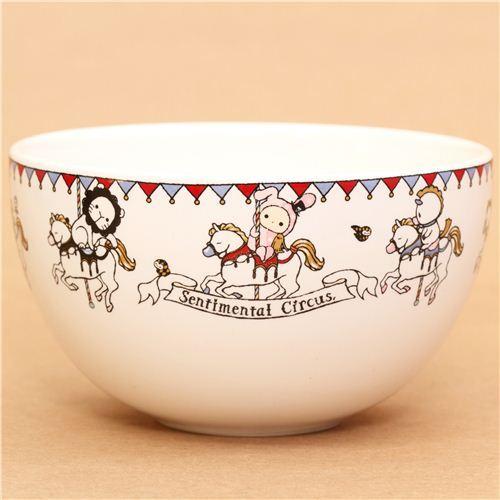 cute Sentimental Circus carousel ceramics bowl by San-X