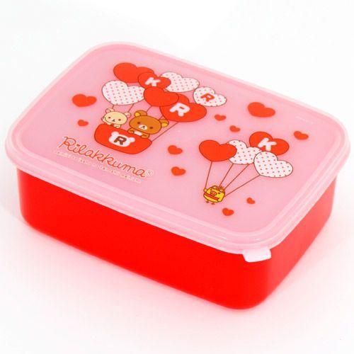 red Rilakkuma Bento Box Lunch Box bears with hearts
