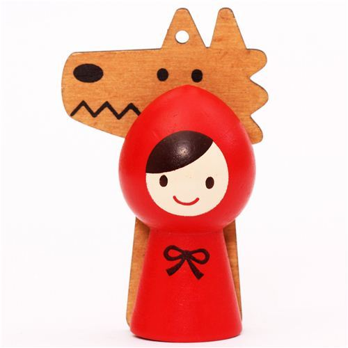 Red Riding Hood and wolf magnet clothespeg Otogicco Decole