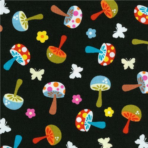 Michael Miller flannel fabric Mini Mushrooms toadstools