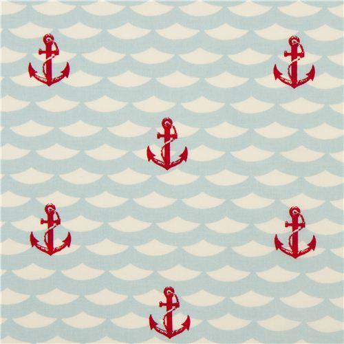 cream maritime birch anchor organic fabric Litte Red Anchor