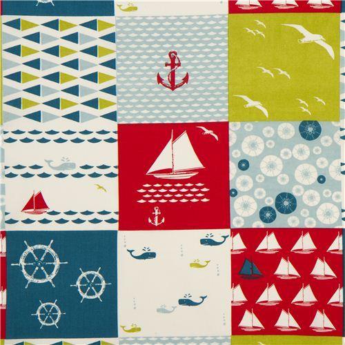 maritime patchwork birch organic fabric Set Sail