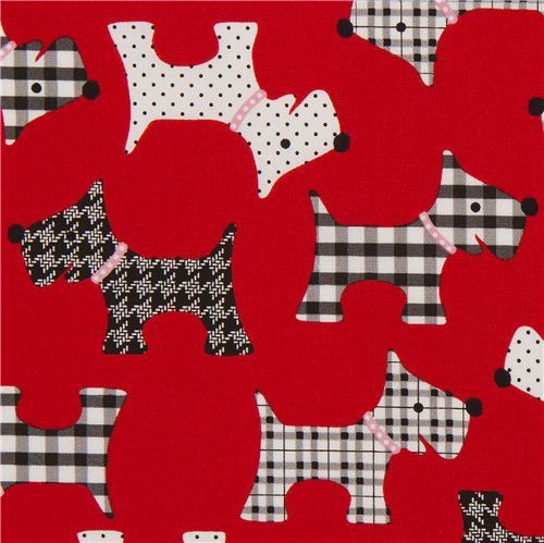 red patterned dog animal fabric by Robert Kaufman USA