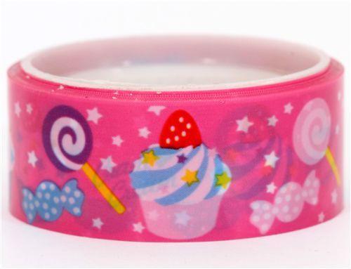 Cram Cream pink cupcake lollipop deco tape kawaii