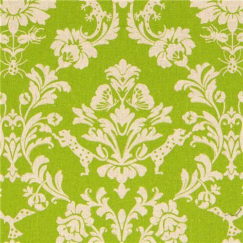 green echino laminate fabric Gothic leopard & ornament