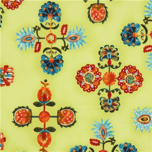 green flower fabric with ornaments by Robert Kaufman