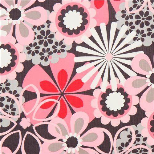 grey flower corduroy fabric by Michael Miller pink flowers