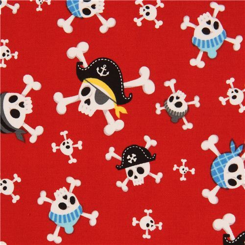 red Alexander Henry skull fabric Little Blaggards