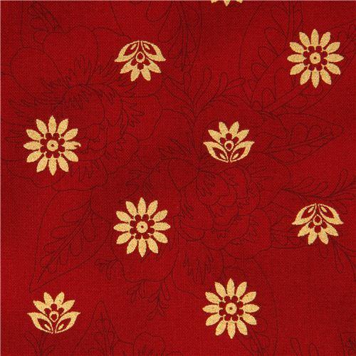red flower fabric with golden flowers Robert Kaufman USA