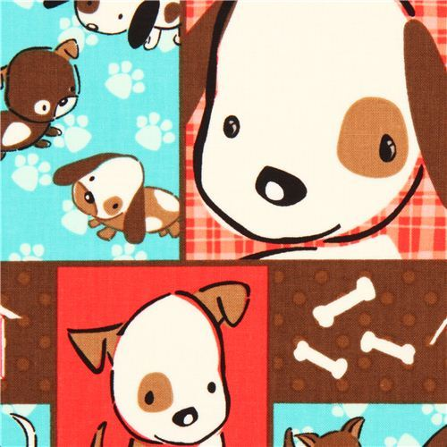 Patchwork animal fabric dog paw plaid Camelot from Canada