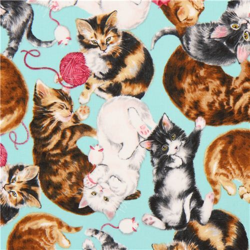 turquoise cat animal fabric Robert Kaufman Whiskers & Tails