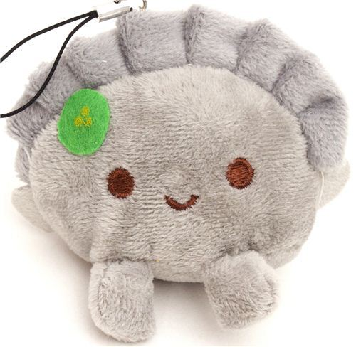 grey dumpling plush cellphone charm  kawaii