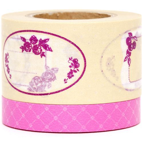 Washi Masking Tape deco tape set 2pcs label & flower
