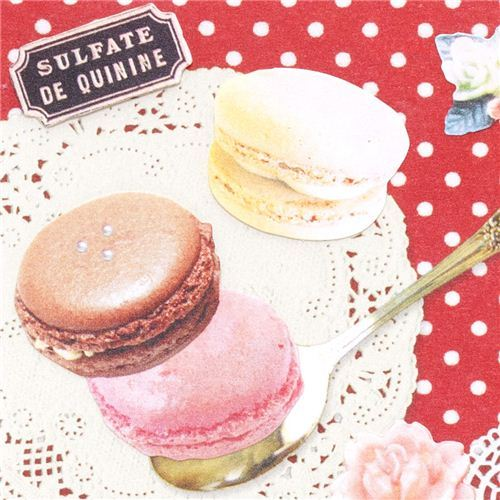 macaroons strawberry cake & cookies stickers red