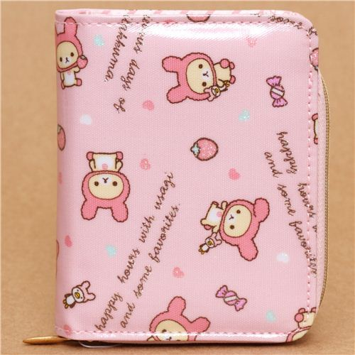 kawaii pink San-X Rilakkuma wallet white bear as bunny