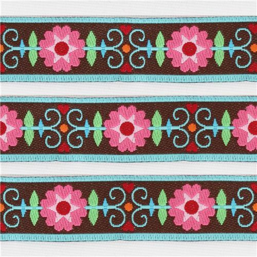 beautiful brown retro flowers woven ribbon trim
