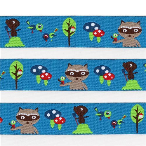 cute blue raccoon mole woven ribbon trim kawaii