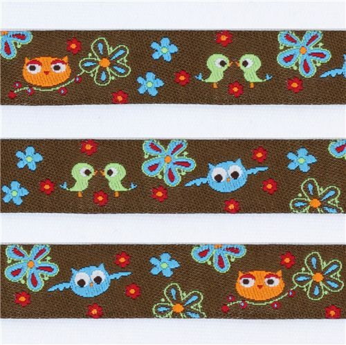 cute brown owls with friends woven ribbon trim kawaii