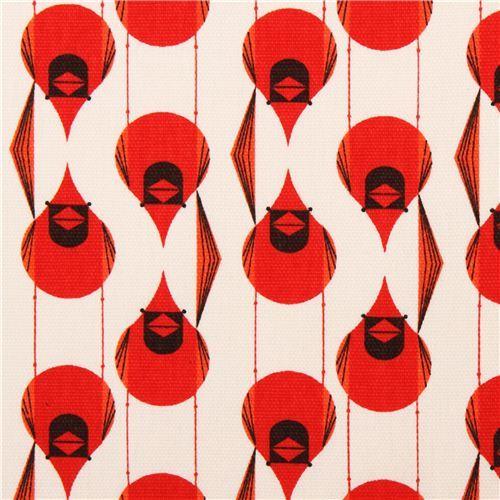 Cardinal Stagger red bird organic fabric birch