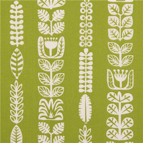 grass green floral stripe organic fabric by birch