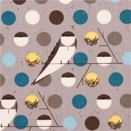 grey Bank Swallow blue bird organic fabric birch USA