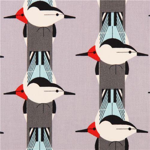grey bird stripe canvas organic fabric birch Upside Downside