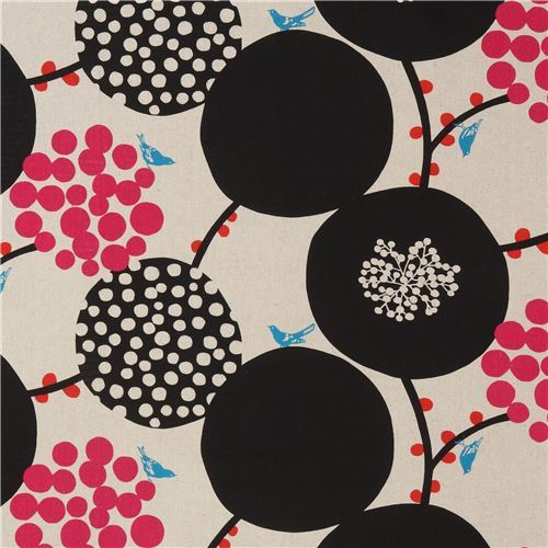 natural color echino canvas fabric with big black circle Standard