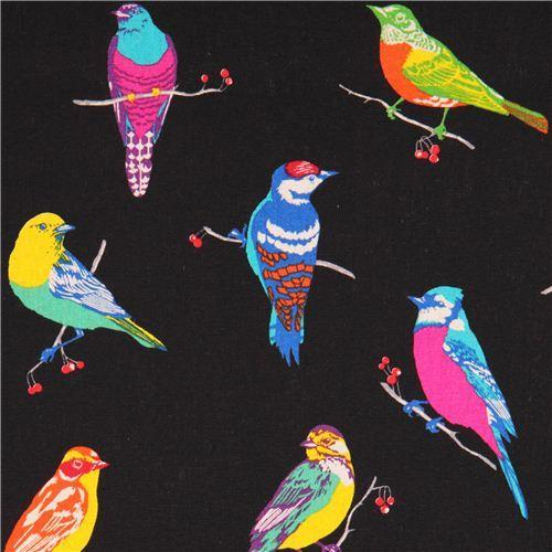 black birds echino Canvas fabric with birds